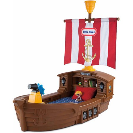 Little Tikes Pirate Ship Toddler Bed, With Storage and Working Lights (Step 2 Car Bed)