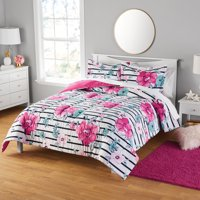 Your Zone Floral Print Microfiber Comforter and Sham Set