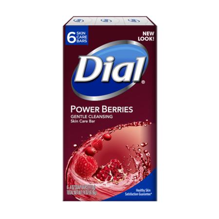 Dial Glycerin Bar Soap, Power Berries, 4 Ounce Bars, 6 - Vegetable Glycerin Soap