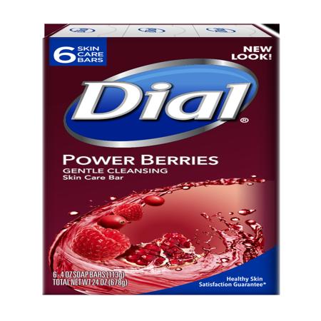 - Dial Glycerin Bar Soap, Power Berries, 4 Ounce Bars, 6 Count