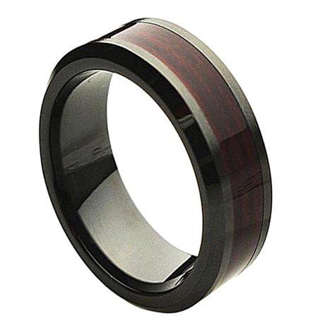 8mm Ceramic Beveled Edge with Burgundy Wood Laminate Inlay Wedding Band Ring For Men Or Ladies