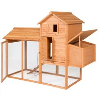 Best Choice Products 80in Outdoor Wooden Chicken Coop Hen House Poultry Cage w/ Wire Fence for 4 Birds, Farm - Brown