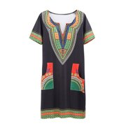 bf89177f4e1 Women African Printed Dashiki Traditional Short Sleeve Party Mini Dress