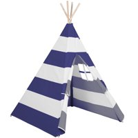 Best Choice Products 6ft Kids Stripe Cotton Canvas Indian Teepee Playhouse Sleeping Dome Play Tent w/ Carrying Bag, Mesh Window - White/Blue