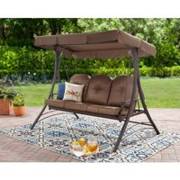 Mainstays Wentworth 3-Person Cushioned Canopy Porch Swing Bed