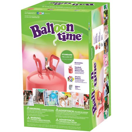 Balloon Time 9.5in Helium Tank Kit, Includes 30 Balloons & Ribbon - Walmart.com