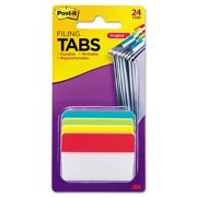 """Post-it Filing Tabs, 2"""" Angled Solid, Assorted Primary Colors, 6 Tabs/Dispenser, 4 Dispensers/Pack"""