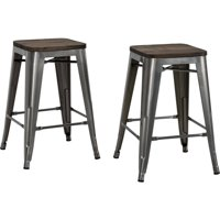 """DHP Fusion 24"""" Metal Backless Counter Stool with Wood Seat, Set of 2, Multiple Colors"""