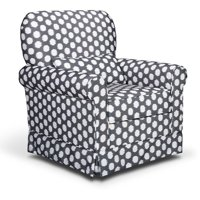 Storkcraft Polka Dot Upholstered Swivel Glider Gray and White