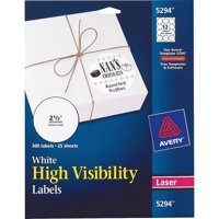 "Avery(R) White High-Visibility Labels for Laser Printers 5294, 2-1/2"" Diameter, Pack of 300"