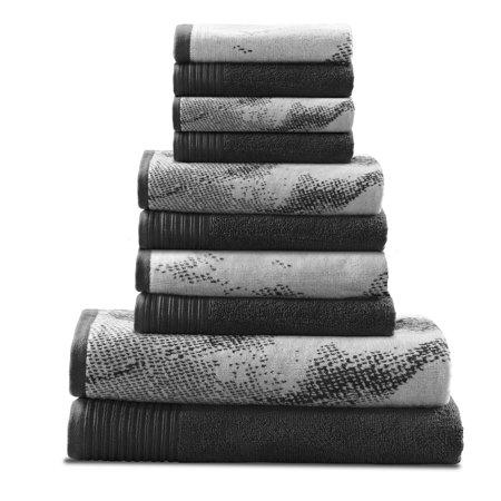 Superior Marble Effect 10 Pc Cotton Towel Set Black Two Bath Towels