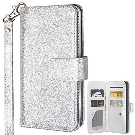 ZTE Max XL Case, ZTE Blade Max 3 Case, ZTE Zmax Pro 2 Case, [Wrist Strap] Glitter Faux Leather Flip Credit Card Holder [Kickstand Feature] Protective Wallet Case Clutch Case - Silver Antique Silver Card Case