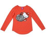 c8f5fa70 Sanrio Girls Orange Hello Kitty Halloween Shirt Glitter Boo Pumpkin Tee Top