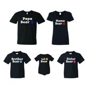 98100264935d FASCIINO PAPA MAMA BROTHER SISTER LITTLE BEAR Family Matching T-shirts