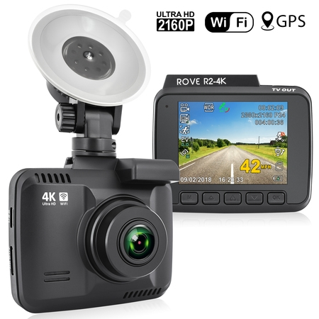 Rove R2-4K Car Dash Cam - 2160P 4K Ultra HD Resolution Dash Board Camera - Built-In WiFi and GPS, Rove Dual USB Fast Car