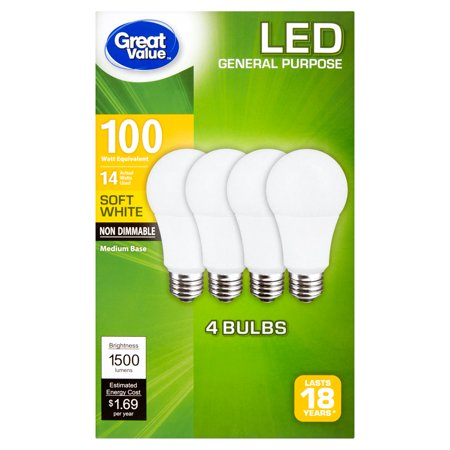 Great Value LED Light Bulbs, 14W (100W Equivalent),Soft White, 4-Pack - Led Lights Bulk