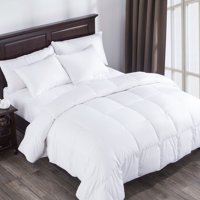 Puredown Heavy Fill White Goose Down Comforter 400 Thread Count 600 Fill Power Egyptian Cotton, Twin Size, White