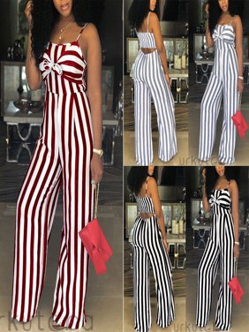 Women Ladies Striped Clubwear Playsuit Bodycon Party Jumpsuit Romper Trousers