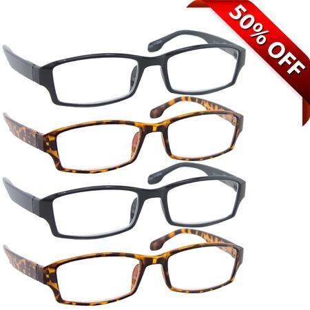 Reading Glasses +0.75 | 4 Pack of Readers for Men and Women | 2 Black 2 Tortoise
