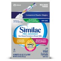 Similac Pro-Advance Non-GMO with 2'-FL HMO Infant Formula with Iron for Immune Support, Baby Formula 0.58 oz Packs (Pack of 64)
