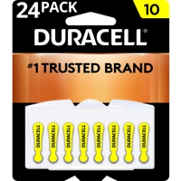 Duracell Hearing Aid Batteries with Easy-Fit Tab Size 10 24 Pack