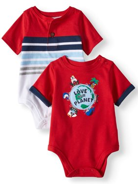 Product Image Baby Boys' Striped Henley and Graphic Bodysuits, ...