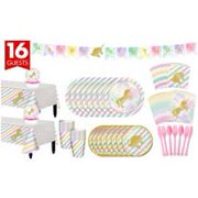 Unicorn Sparkle Complete Tableware Party Kit For 16 Guests Birthday Supplies