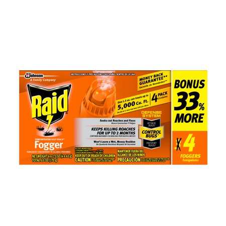 Concentrate Repellent Powder - Raid  Concentrated Deep Reach Fogger, 6 oz (4 Fogger cans @ 1.5oz each)