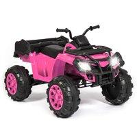 Best Choice Products 12V Kids Powered Large ATV Quad 4-Wheeler Ride-On Car w/ 2 Speeds, Spring Suspension, MP3, Lights, Storage - Pink