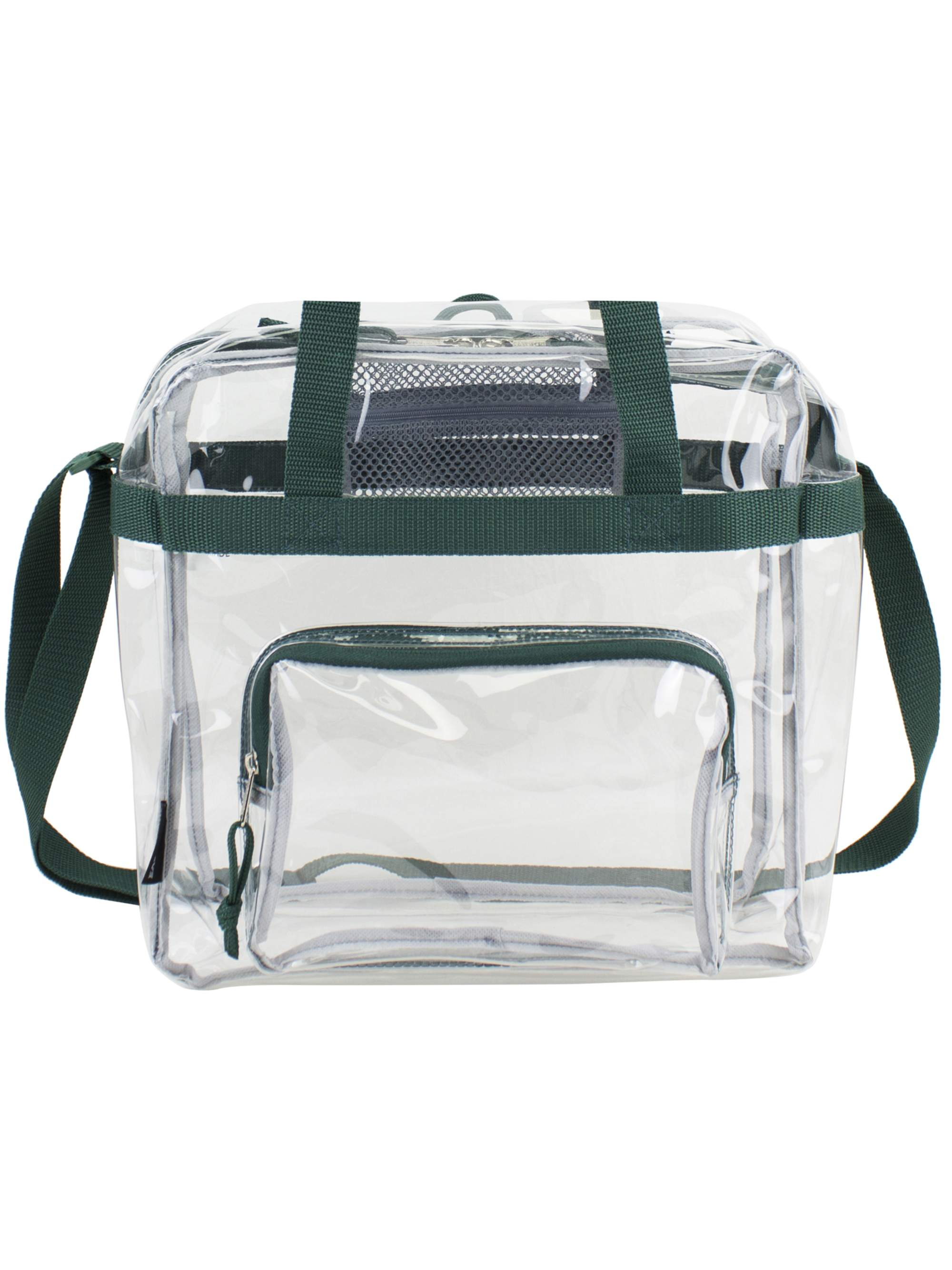 "Zuess Premium Clear Stadium Approved Bag Clear Tote Bag with Cross Body Messenger Adjustable Shoulder Strap-12/"" X 12/"" X 6/"""