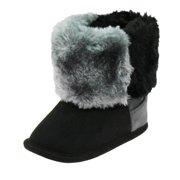 First Steps Cute Bay Girls Vegan Suede Faux Shearling Warm Winter Baby Boots   61ec1598b372
