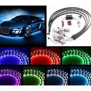 7 Color 4pcs LED Strip Under Car Tube underglow Underbody System Neon Lights Kit (90cmX120cm
