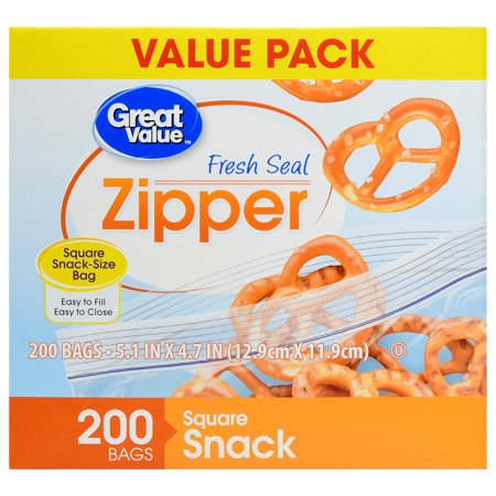 (2 pack) Great Value Zipper Square Snack Bags, 200 count