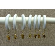 1 3 8 Solid Wood Drapery Rings With Br Clips In White Finish