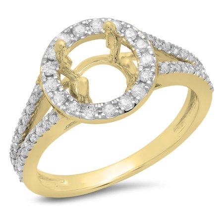 Dazzlingrock Collection 0.40 Carat (ctw) 14K White Diamond Ladies Bridal Halo Semi Mount Engagement Ring, Yellow Gold, Size 7 14k Gold Semi Mount Ring