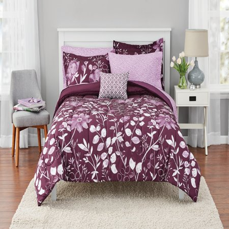 Mainstays Kamala Bed in a Bag Coordinated Bedding, Purple,