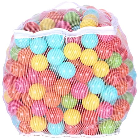 BalanceFrom Phthalate Free BPA Free Non-Toxic Crush Proof Play balls Pit Balls- 6 Bright Colors in Reusable and Durable Storage Mesh Bag with Zipper - Bulk Ball Pit Balls