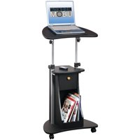 Techni Mobili Sit-to-Stand Rolling Adjustable Laptop Cart With Storage, Black (RTA-B005-BK46)