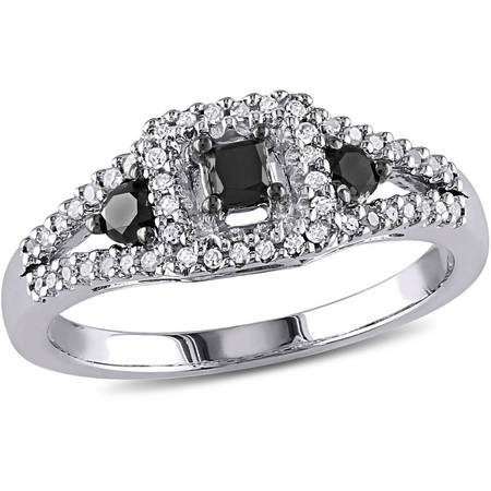 1/2 Carat T.W. Black and White Diamond Princess-Cut Sterling Silver Three Stone Halo Ring