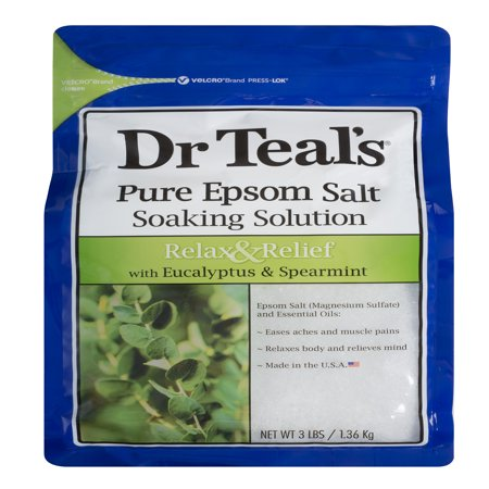 Dr Teal's Pure Epsom Salt Soaking Solution, Relax & Relief with Eucalyptus Spearmint, 3 lb