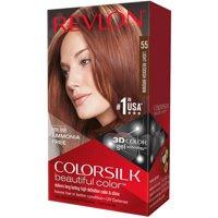 (2 Pack) Revlon Colorsilk Beautiful Color Permanent Hair Color, 55 Light Reddish Brown