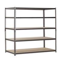 """Muscle Rack 5-Shelf Steel Shelving, Silver-Vein, 24"""" D x 48"""" W x 72"""" H"""