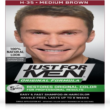 Just for Men Original Formula, Easy and Fast Shampoo-In Men's Hair Color, Medium Brown, Shade