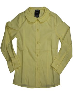 French Toast Uniform Girls 4-20 Long Sleeve Feminine Fit Peter Pan Blouse, 33411 Yellow / 10