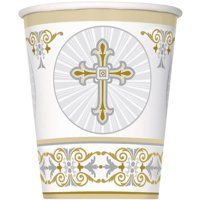 Radiant Cross Religious Paper Cups, 9 oz, Gold & Silver, 8ct