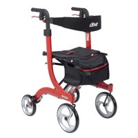 Drive Medical Nitro Euro Style Rollator Rolling Walker, Tall, Red