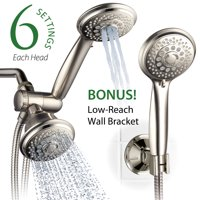 AquaSpa® 30-Setting Ultra-Luxury 3 Way ShowerHead/Handheld Shower Combo with Insta-Mount® Wall Bracket - Brushed Nickel