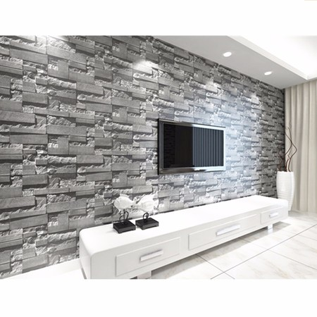 57sq.ft/393.7'' x 21'' 3D Effect Brick Stone Wallpaper Sticker Textured Removable Waterproof for Home Design and Room Decoration, Super Large Size - Live Halloween Wallpaper For Pc
