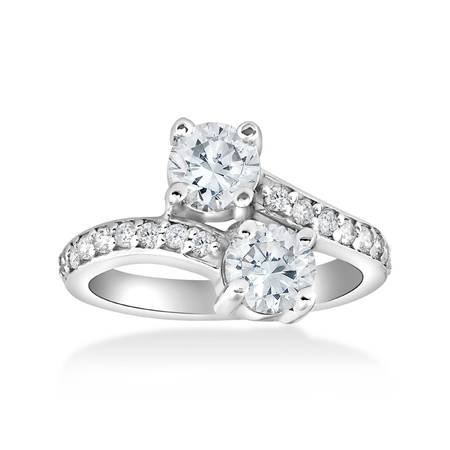 Pompeii3 2 Carat Forever Us Two Stone Engagement Diamond Solitaire Ring 14K White Gold (2 carat diamond rings for women)