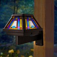 Moonrays 91241 Inglenook Solar Stained Glass LED Post Cap Light, Brushed Copper Finish